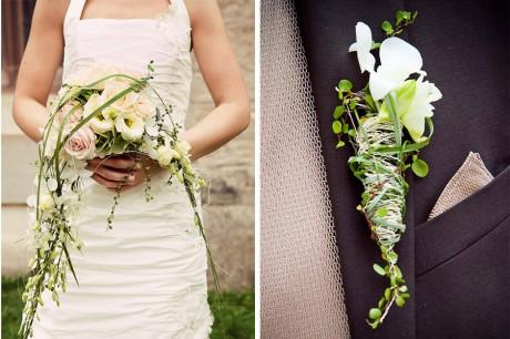 Brautstrauss und Anstecker des Bräutigams