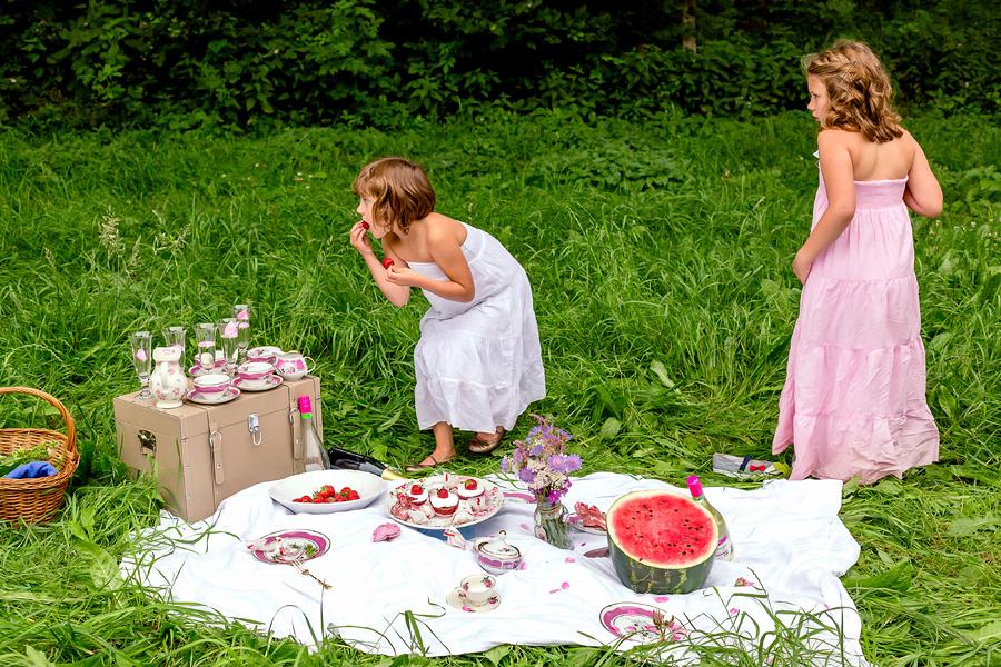 Picknick Fotos auf der Wiese